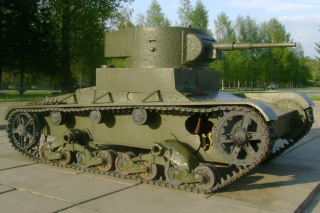 Tank T-26 on a pedestal, replica